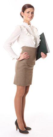 Girl Wearing a Pencil Skirt