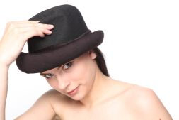 Women wearing black hat